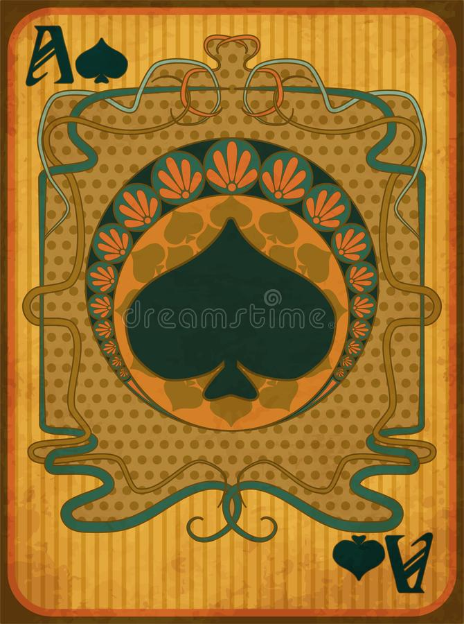 Free Poker Spades Card In Art Nouveau Style, Vector Stock Photo - 111076970