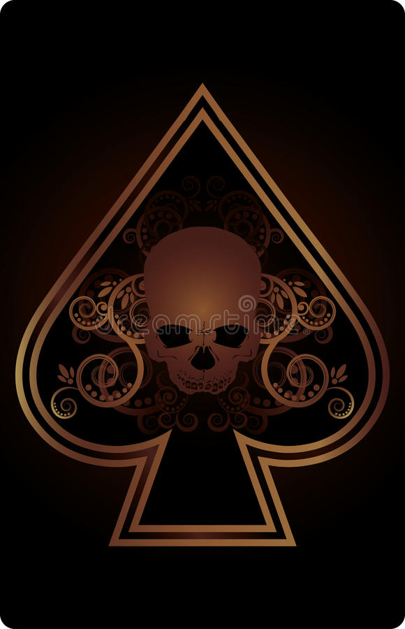 Free Poker Spades Card With Skulls Royalty Free Stock Image - 30090636