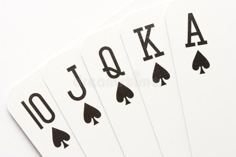 Poker - spades royal flush stock photos