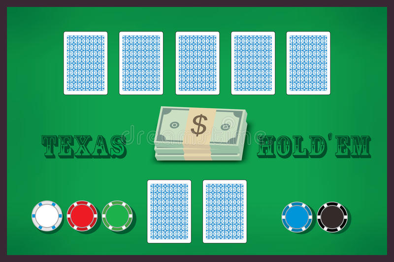 Poker table. Green poker table with cards and chips vector illustration