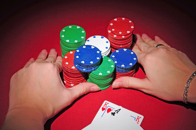 Poker table. All in. stock photo