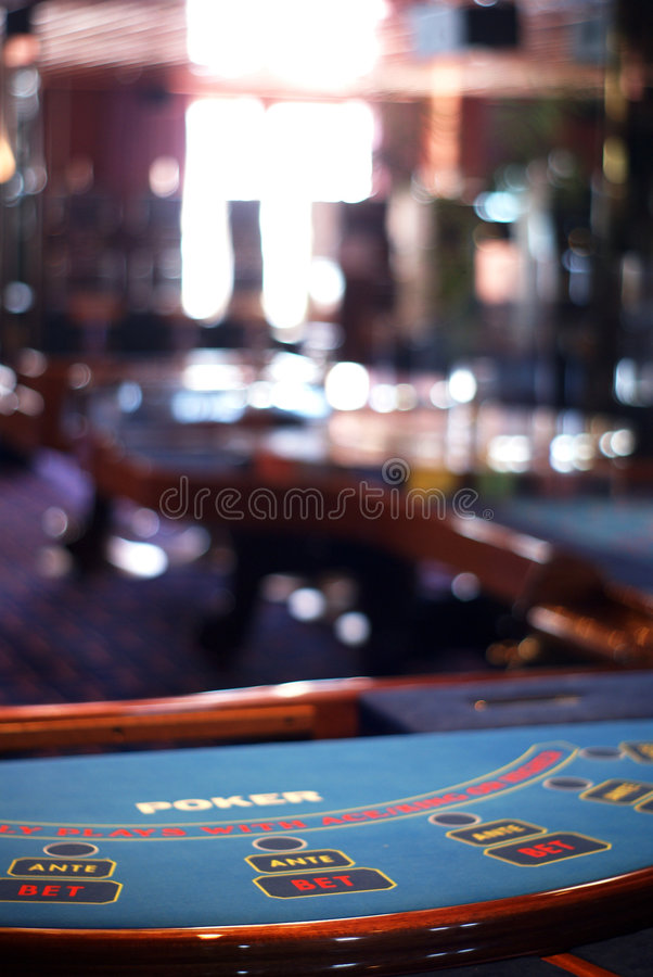 Poker table vertical. Poker table bleu with background unfocused - photo on casino in ship cruise stock photos