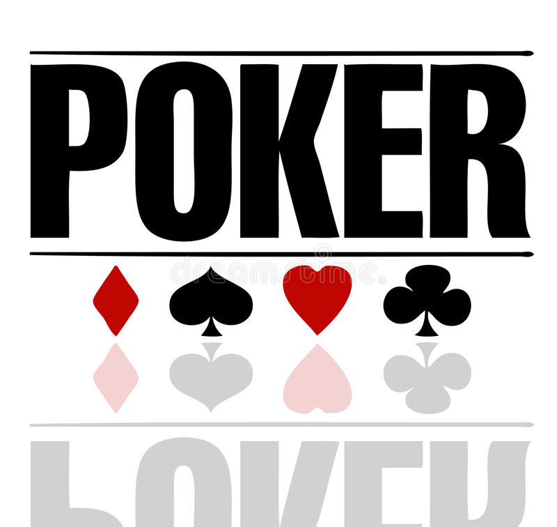 Poker text. Poster color red and black stock illustration