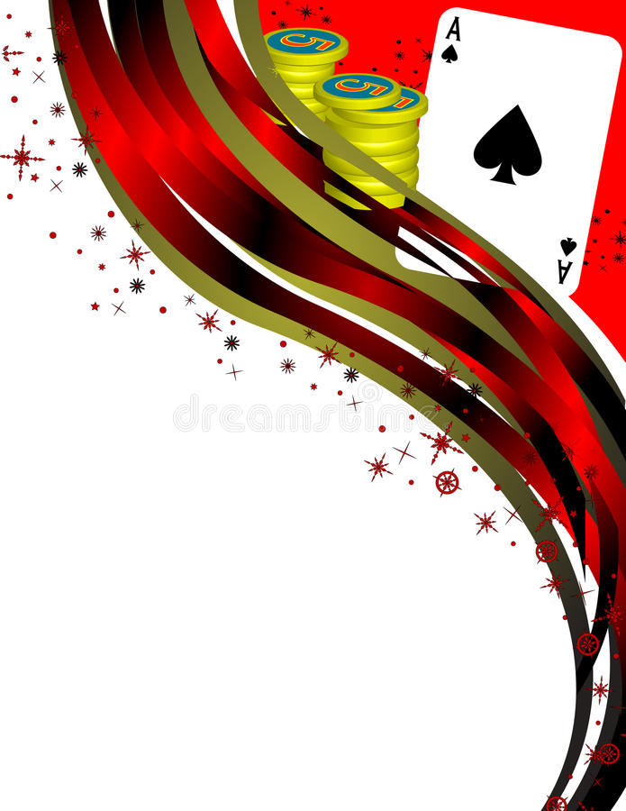 Poker themed image. An image with an Ace of Spades, some Poker Chips, and abstract border, with copy space stock illustration