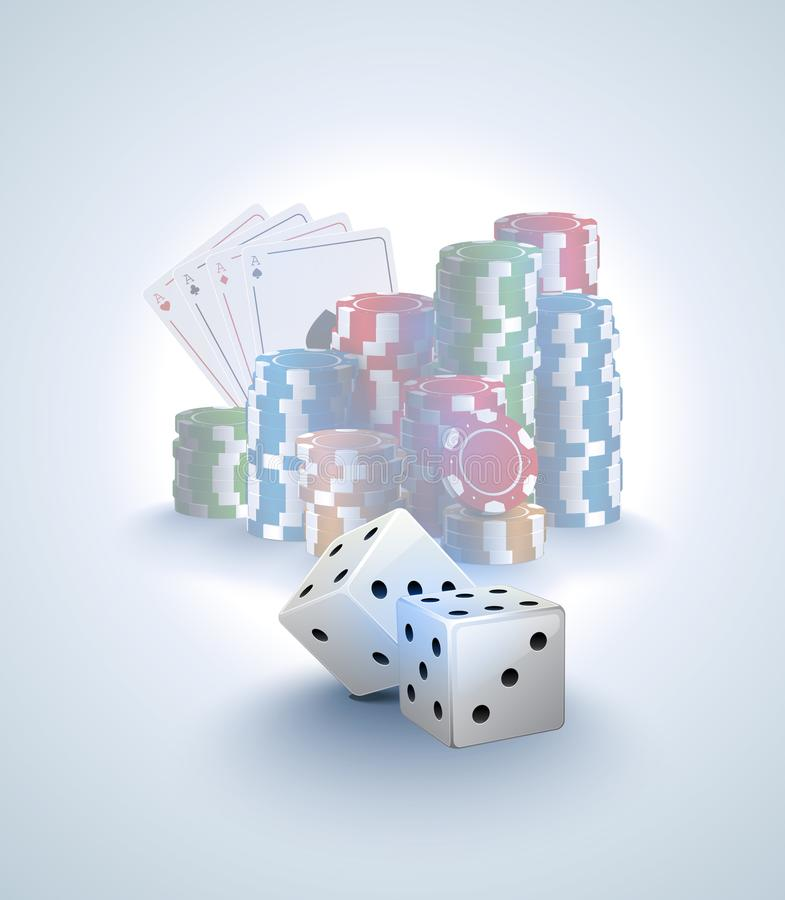 Free Poker Vector Background, Stack Of Poker Chips, Ace Cards On White Background, Two White Dices Foreground. Gambling Online Casino Stock Photography - 108047012