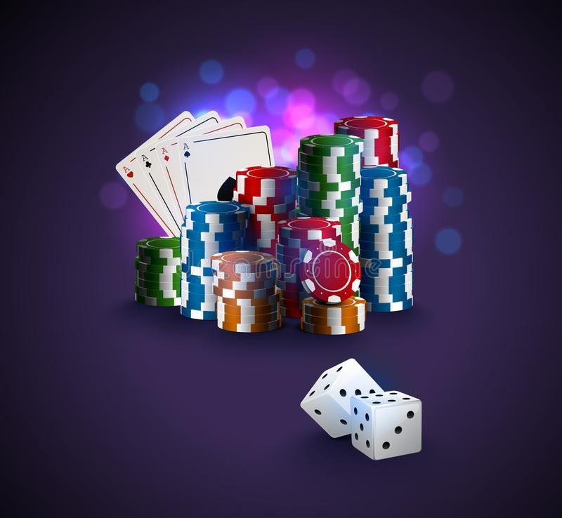 Poker vector illustration, stack of poker chips, ace cards on bokeh purple background, two white dices on foreground. Gambling stock illustration