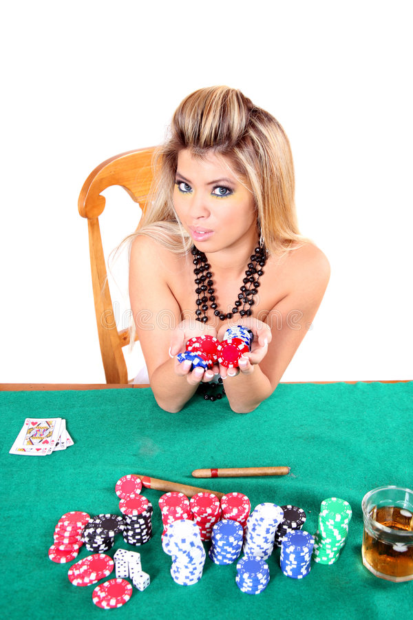 Poker woman royalty free stock images
