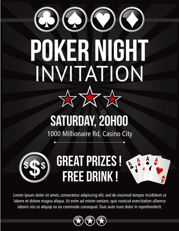 Pokerabendereignis-Einladungsdesign im Vektor lizenzfreie abbildung