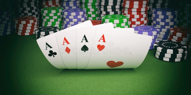 Pokerchiper och fyra överdängare på grön illustration för filt 3d stock illustrationer