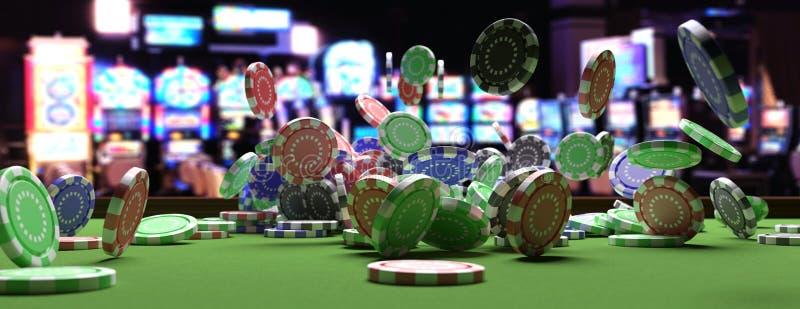 Pokerchiper som faller på den gröna klädde med filt rouletttabellen, inre bakgrund för suddighetskasino illustration 3d vektor illustrationer