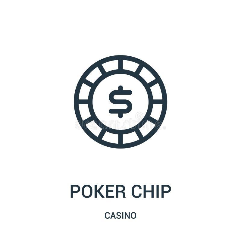 Pokerchipikonenvektor von der Kasinosammlung D?nne Linie Pokerchipentwurfsikonen-Vektorillustration stock abbildung