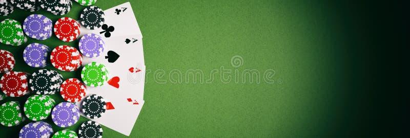 Pokerchips und vier Asse auf Illustration des Grünfilzes 3d vektor abbildung