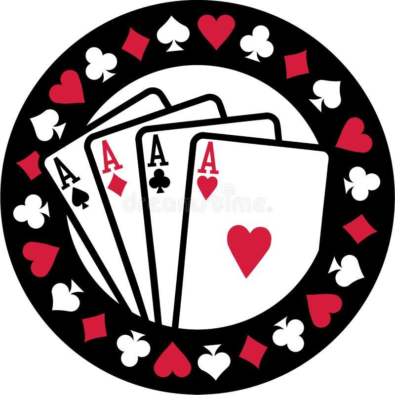 Pokeremblem mit vier Spielkarteklagen der Asse vektor abbildung