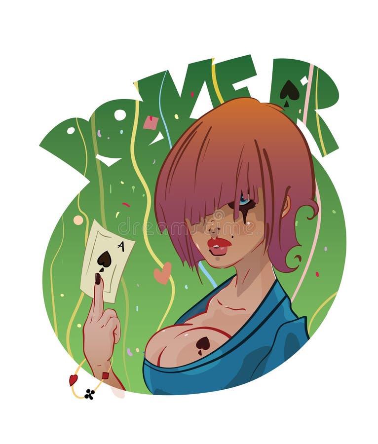 Pokerflickatatuering eller logodesign stock illustrationer