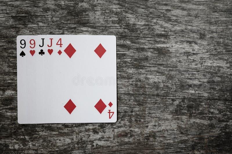 Pokerhand: två par Spela kort på trätabellen arkivfoton