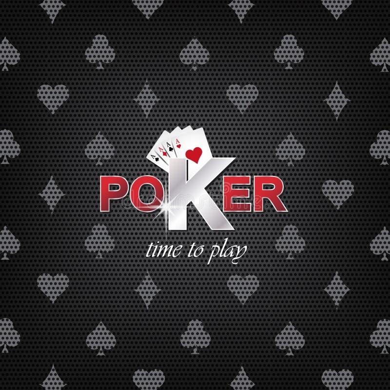 Pokerillustration på en mörk bakgrund med kortsymbol vektor illustrationer