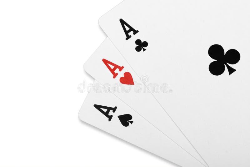 Pokerkarte Drillings-Aspoker lizenzfreie stockfotos