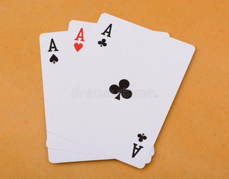 Pokerkarte Drillings-Aspoker stockfotografie