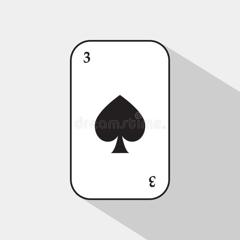 Pokerkarte Spaten drei weißer Hintergrund, zum trennbar leicht zu sein vektor abbildung