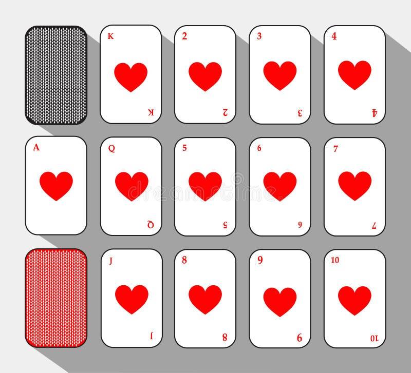 Pokerkarte Stellen Sie Herz ein weißer Hintergrund, zum trennbar leicht zu sein stock abbildung