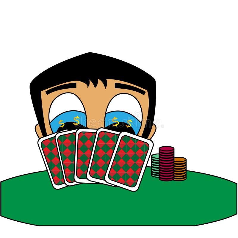 Pokerspieler gewinnt Geld Lokalisierte Vektorillustration auf Lager stock abbildung