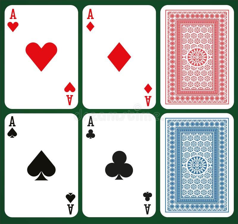 Pokeruppsättning med isolerade kort - överdängare och kortbaksidor royaltyfri illustrationer