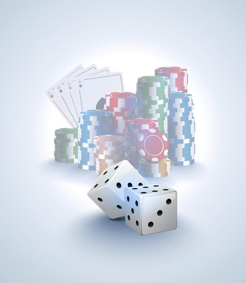Pokervektorbakgrund, bunt av pokerchiper, topp- kort på vit bakgrund, vit två tärnar förgrund Spela online-kasinot vektor illustrationer