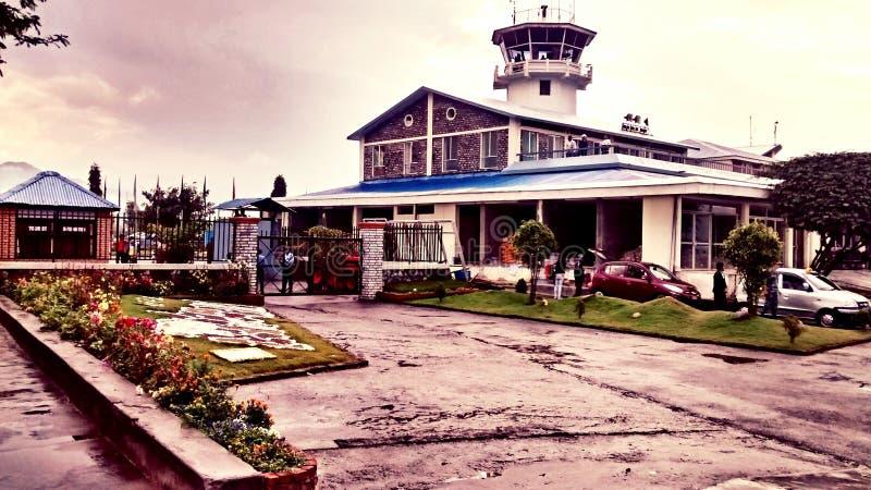 Pokhara flygplats, Nepal royaltyfri foto