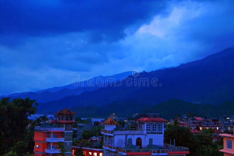 Pokhara and Lake Phewa in Nepal in the evening stock photos