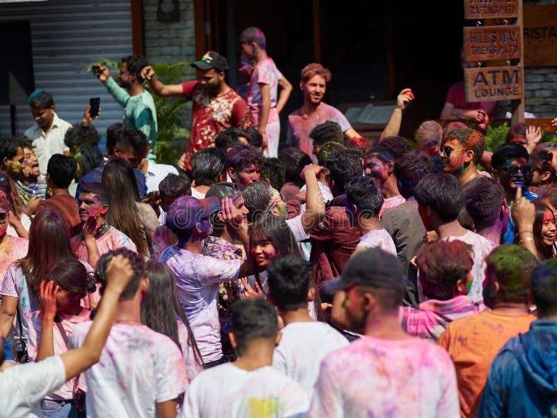 Pokhara, Nepal - APRIL 11, 2019: People during Festival of colours Holi Pokhara. Holi is traditional holiday of India stock photo