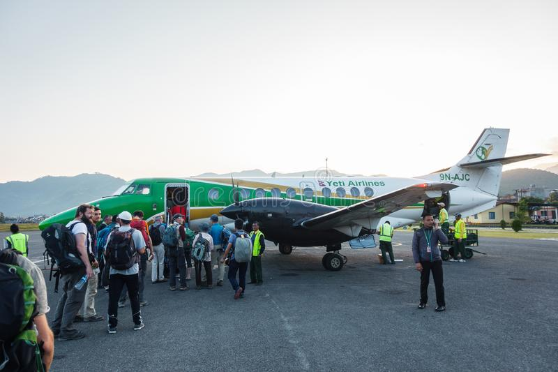 Yeti Airlines plane at Pokhara airport, Nepal royalty free stock photography