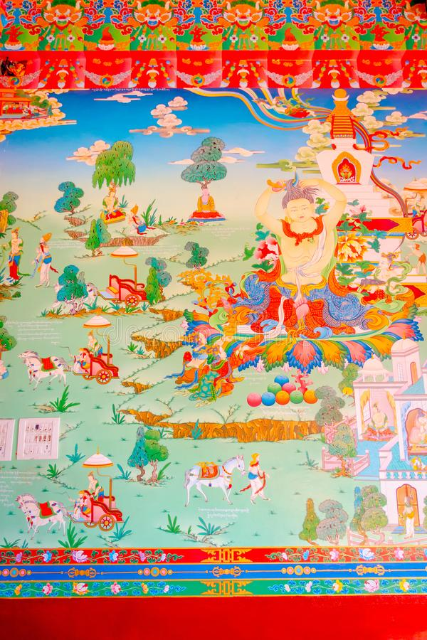 POKHARA, NEPAL - OCTOBER 06 2017: Beautiful indoor view of the draw in the wall of The Pema Ts al Sakya Monastic. Institute, that it was founded to provide royalty free stock images