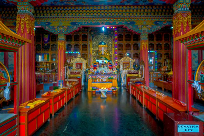 POKHARA, NEPAL - OCTOBER 06 2017: Indoor view of Thrangu Tashi Choling Monastery in Kathmandu, Nepal. Thrangu Tashi royalty free stock image