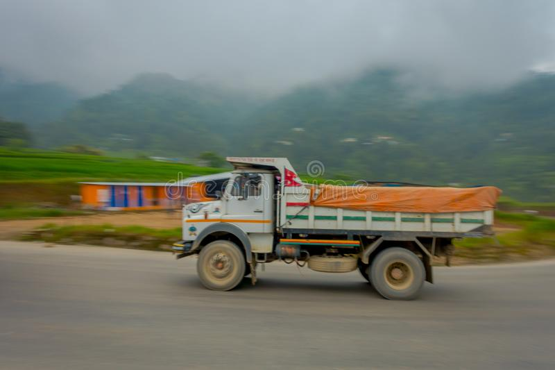 POKHARA, NEPAL OCTOBER 10, 2017: Nepalese truck on the road in the streets located in Pokhara, Nepal.  stock images