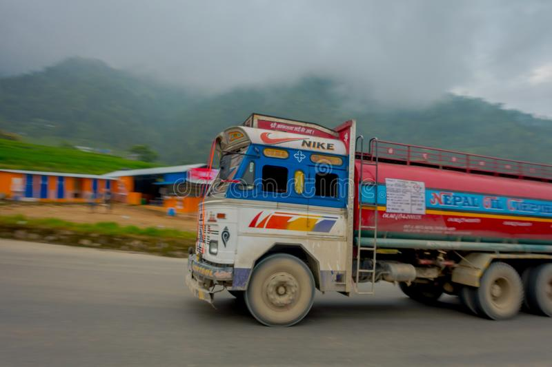 POKHARA, NEPAL OCTOBER 10, 2017: Nepalese truck on the road in the streets located in Pokhara, Nepal.  royalty free stock images