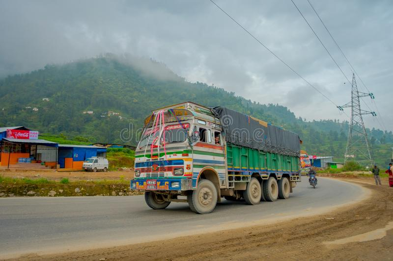 POKHARA, NEPAL OCTOBER 10, 2017: Nepalese truck on the road in the streets located in Pokhara, Nepal.  stock photo
