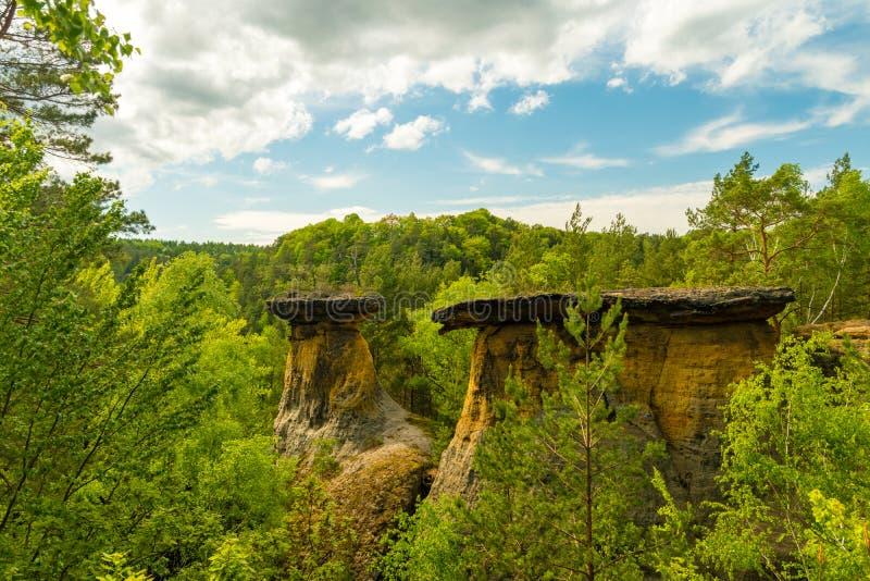 Poklicky-Sandsteinfelsen, Kokorinsko, Machuv-kraj, Landschaftsschutzgebiet-Bereich, Tschechische Republik lizenzfreies stockbild