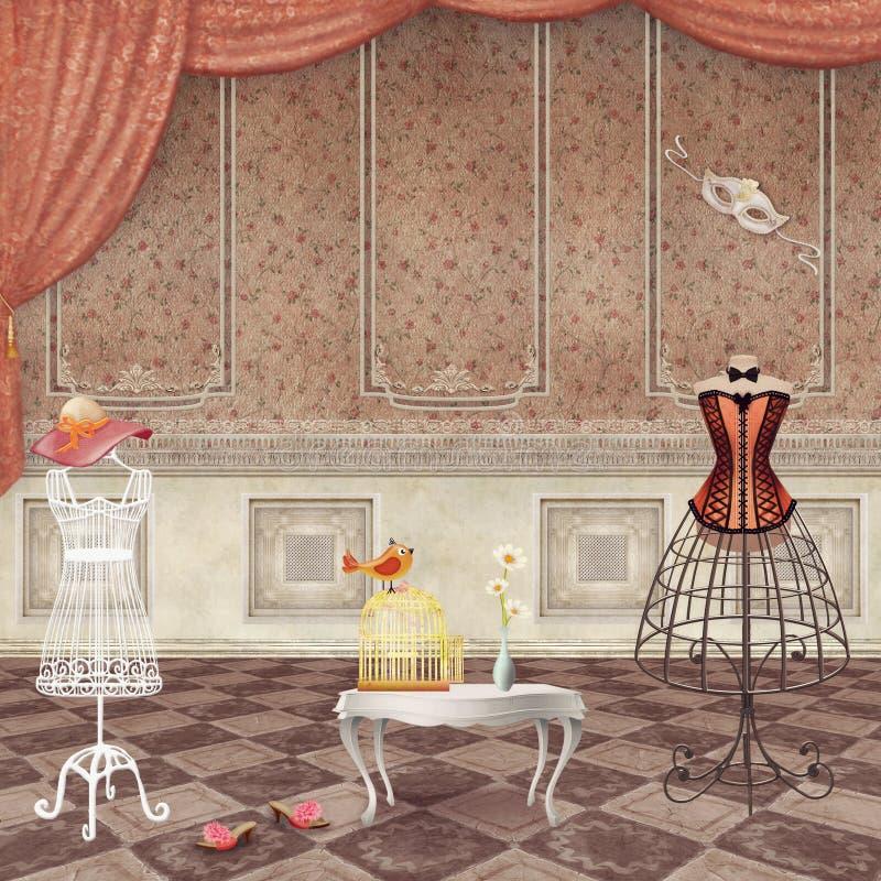 Pokoje z rocznik mody mannequins ilustracja wektor
