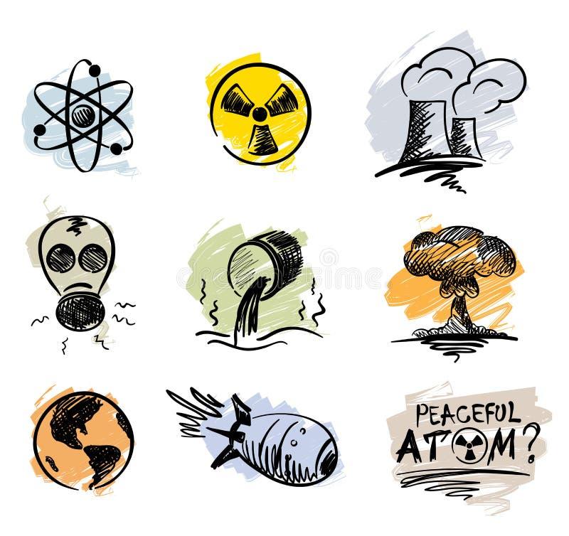 pokojowy atomu set ilustracji