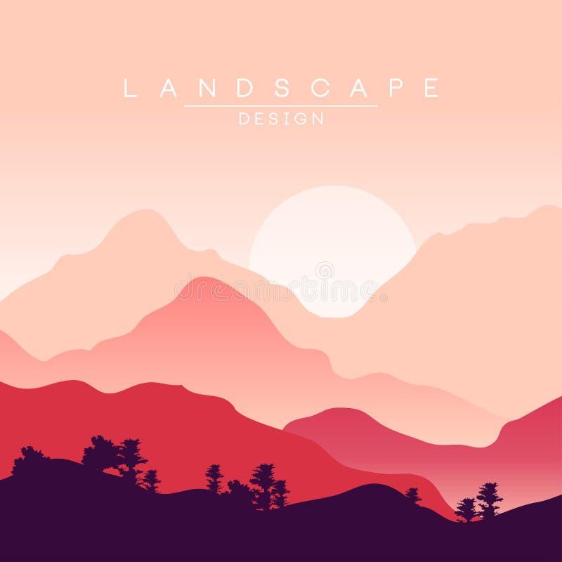 Pokojowy góra krajobraz przy zmierzchem, natury tło dla sztandaru, ulotka, plakat i pokrywa, wektorowy ilustration ilustracji