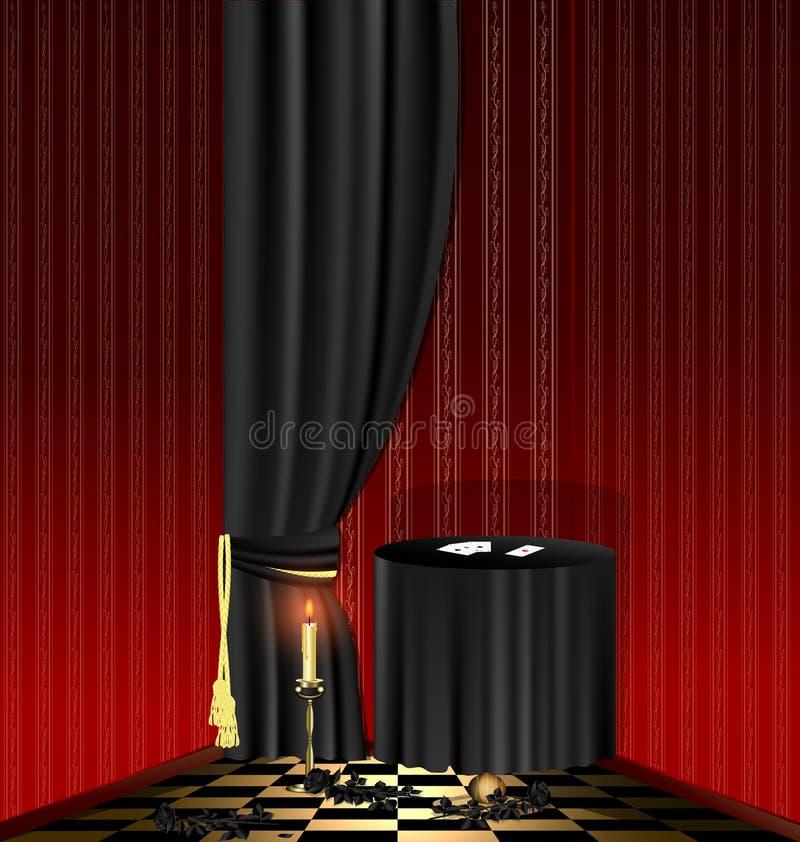 pokoju czarny czerwony stół ilustracja wektor