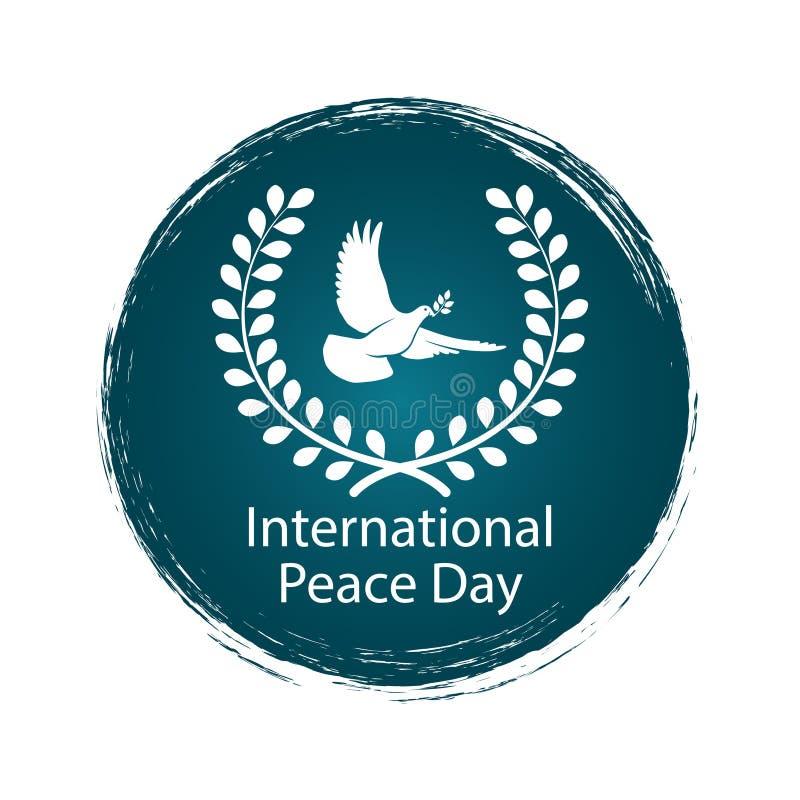 Pokoju dnia logo z gołębiem ilustracji