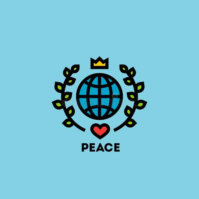 Pokoju dnia pojęcie z kulą ziemską, zieleń liśćmi, koroną i sercem, royalty ilustracja