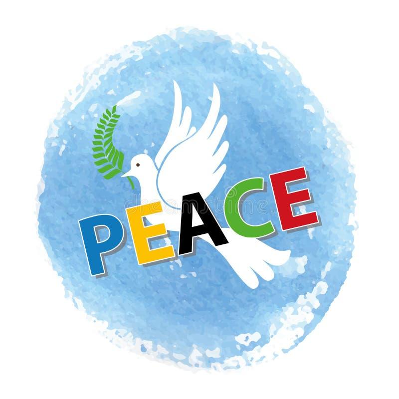 Pokoju dzień Biały gołąb, akwareli niebieskie niebo royalty ilustracja