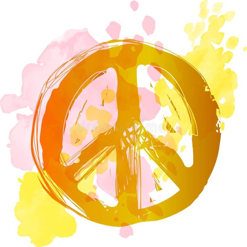 Pokoju hipisa symbol nad kolorowym tłem Wolno??, duchowo??, okultyzm, tkaniny sztuka Wektorowa ilustracja dla t ilustracji