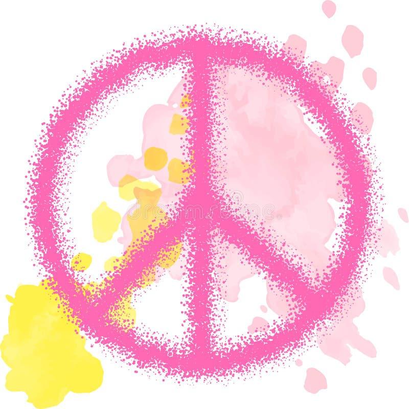 Pokoju hipisa symbol nad kolorowym tłem Wolno??, duchowo??, okultyzm, tkaniny sztuka Wektorowa ilustracja dla t royalty ilustracja