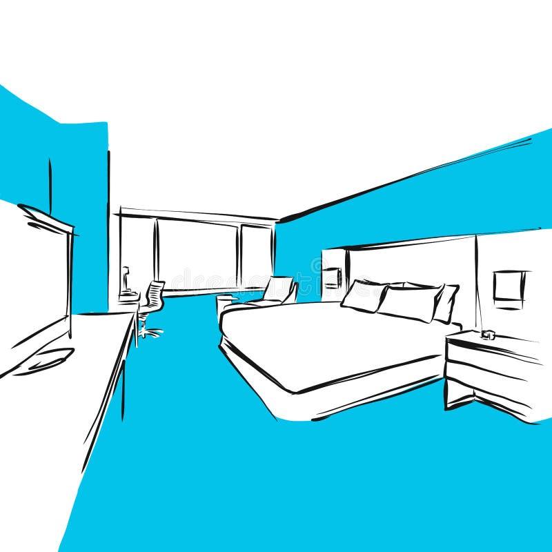 Pokoju Hotelowego Dwoisty łóżko Nowożytny, Błękitne serie ilustracja wektor