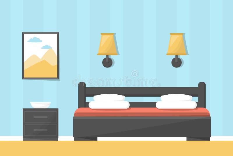 Pokoju hotelowego lub sypialni wnętrze duże łóżko royalty ilustracja