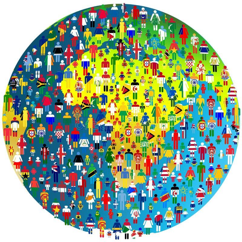 Pokoju pojęcie z Ziemską kulą ziemską i ludźmi deseniującymi w flaga ilustracja wektor