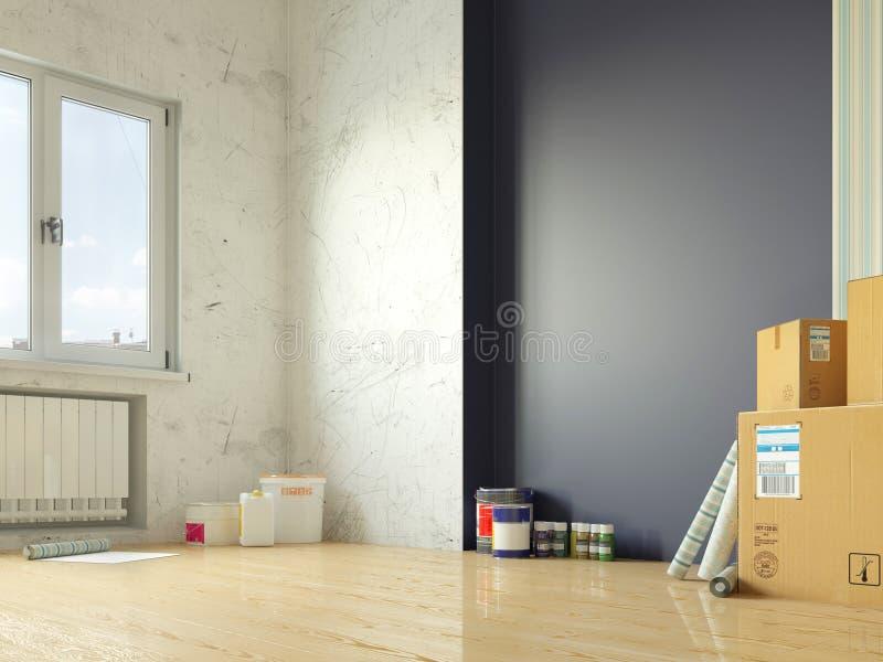 Pokoju remontowy wnętrze ilustracji